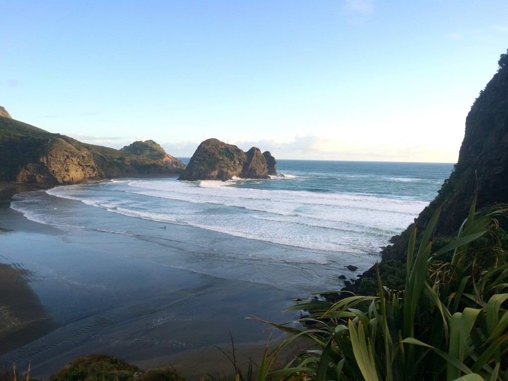 The surf at Piha. The waves may look small, but they were vicious!