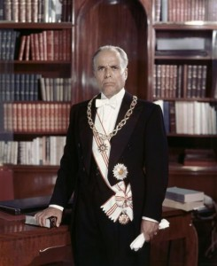A picture of Bourguiba in his earlier years as president.