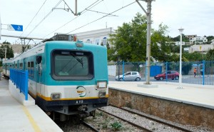 The TGM station in Sidi Bou Said. TGM stands for Tunis, Gamarth, La Marsa as it runs between those neighborhoods.