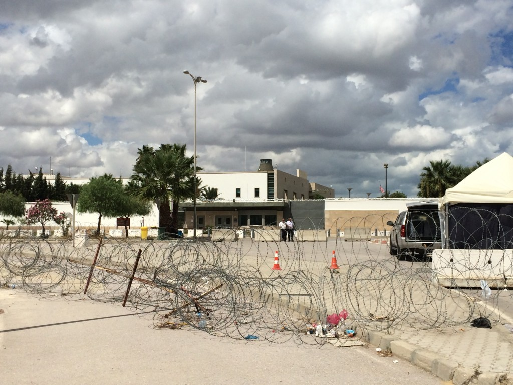 A view of the U.S. Embassy. The barbed wire is not usually there, but the embassy was on extra alert since it was close to the anniversary of 9/11.