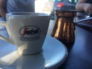 Enjoying some Turkish coffee after class.