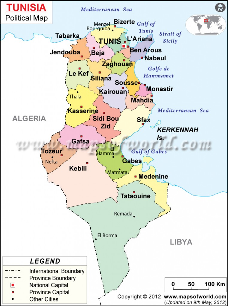 Map of Tunisia.