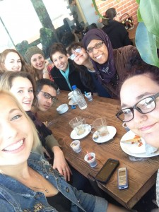 We all decided to have brunch together the day before we left. One of our Tunisians friends even joined us!