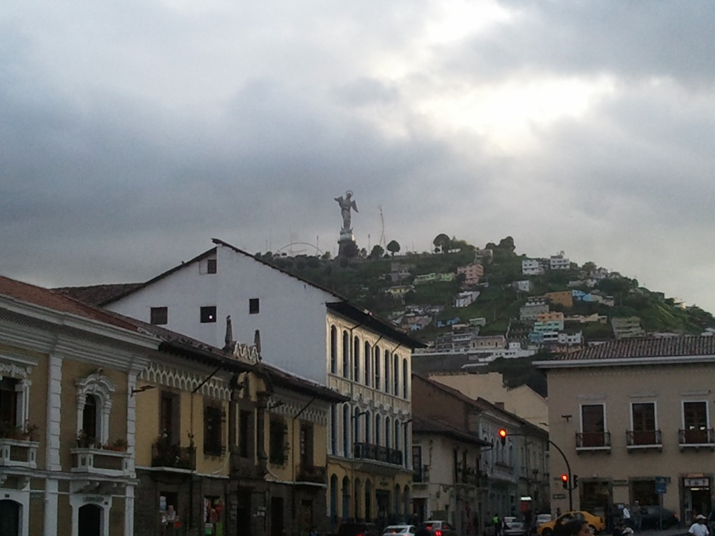 The Virgen del Panecillo seen from the Historic Center of Quito.