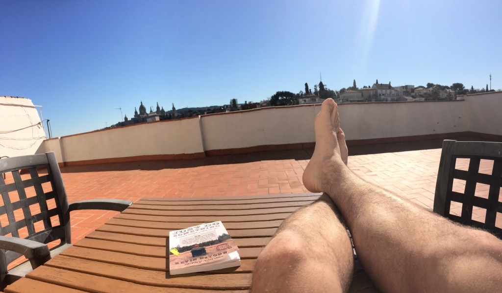 Resting the legs after a fun day on the slopes. Not a bad rooftop view either