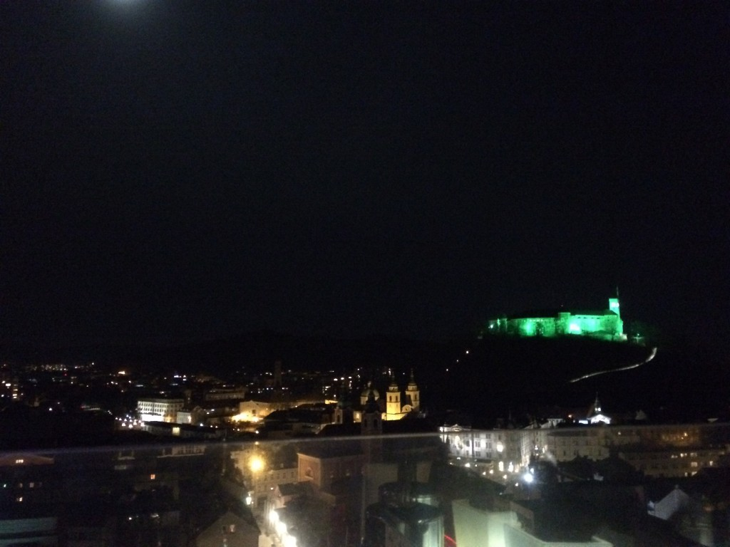 A view of Ljubljana, including the castle, at night