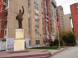 The Bill Clinton statue in downtown Prishtina.