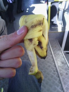 The humble banana peel, taken on a bus back to Q'eros in San Miguel