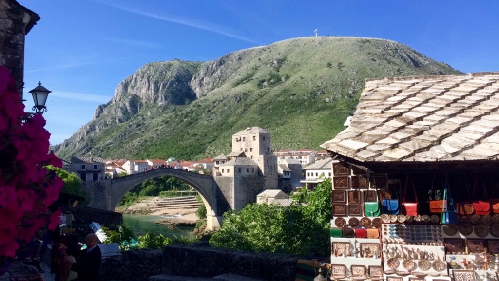 A view of the famous Mostar bridge.