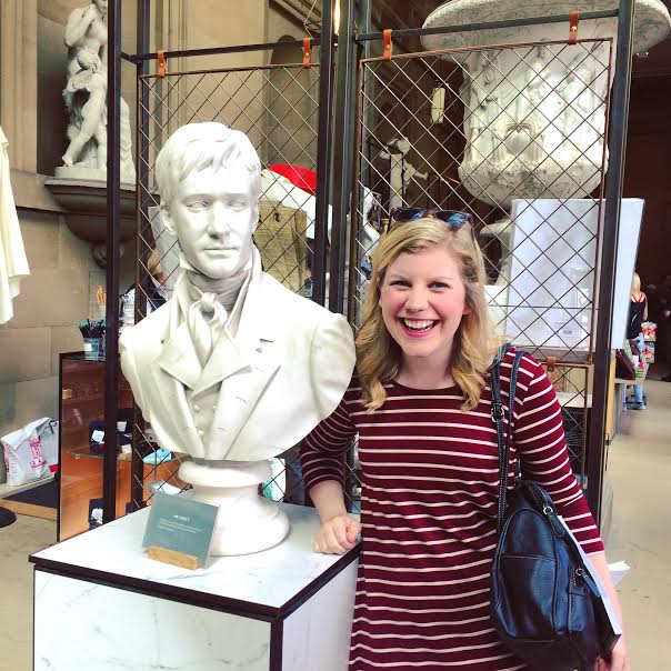 Me with the bust of Mr. Darcy from the movie. Can you tell I was excited?